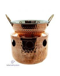 Robuuste oliewarmer, authentiek Indiaas, RVS en koper